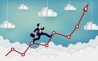 Businessman running on a arrow. Business finance success