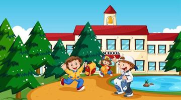 Boy and girl at school vector