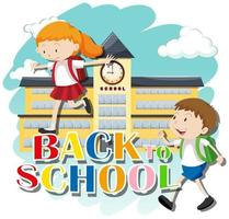 Back to school theme with kids at school