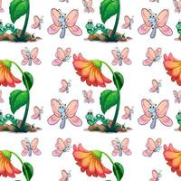 Seamless butterfly and flower vector