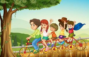 A group of people biking