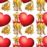 Seamless giraffes with giant hearts vector