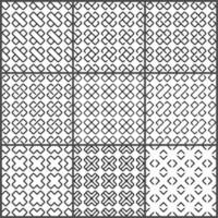 Black crosses seamless pattern set vector