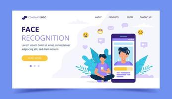 Face recognition technology landing page. Man sitting next to big smartphone with photo on it