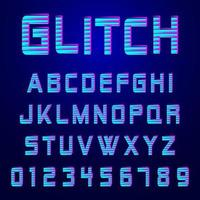 Alphabet font glitch effect design