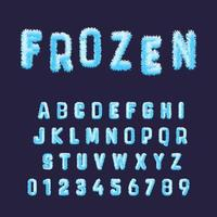 Frozen font alphabet template. Set of blue white hoarfrost numbers and letters