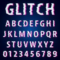 Set of letters and numbers glitch effect design