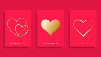 Happy Valentines Day background with golden gradient hearts