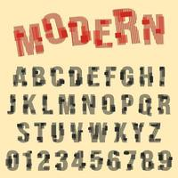 Modern font alphabet. Set of letters and numbers line design vector