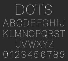 Dots alphabet font template. Set of letters and numbers