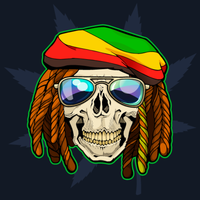 Skull with dreadloks and sunglass