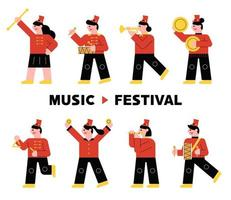 Instrument band character in red uniform playing musical instrument.