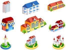 Bâtiments isométriques pour hôtels et commerces de détail