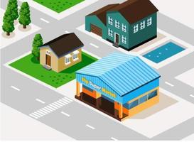 Maisons et routes isométriques