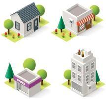 Maisons isométriques et bâtiments commerciaux