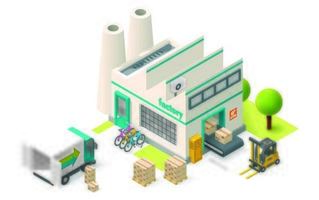 Isometrisk fabrik på vit bakgrund