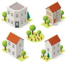Isometric Houses on White Background