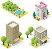 Immeubles d'habitation isométriques