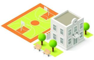 Isometric School and Tennis Court
