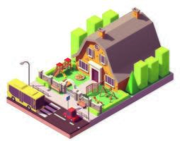 Isometric Home Near Road