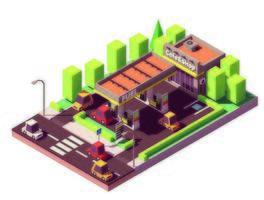 Station d'essence isométrique
