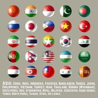 Asia round button flags one vector