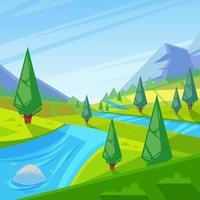Cartoon rivier stroomt door veld