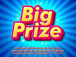 3d Pop Big Prize Text Effect