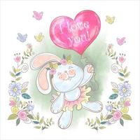 Cute Bunny with an i love you balloon in watercolor design