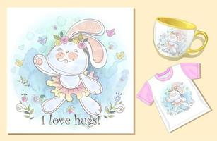 Bunny hug card teacup and tshirt watercolor template set