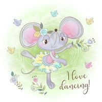 Cute mouse ballerina dancing. I love dancing. Inscription