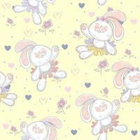 Seamless pattern with cute bunnies ballerinas