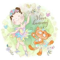 Ballerina girl dancing with a toy kitty. I love dancing. Inscription vector