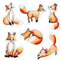 Cute Watercolor Autumn Fox Collection