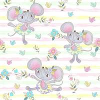 Seamless pattern. Funny mouse ballerinas dancing in the meadow. vector