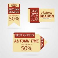 Coleção bonita de etiquetas de outono