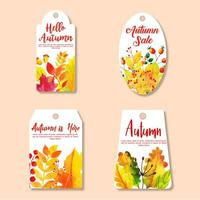 Beautiful Watercolor Autumn Labels Collection vector