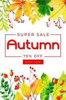 Watercolor Autumn Leaves Sale Poster