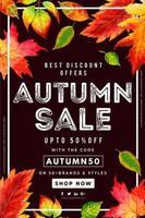 Cartaz de venda de folhas de outono aquarela linda