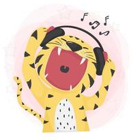 flat vector cute tiger open wild mouth listening to music and singing