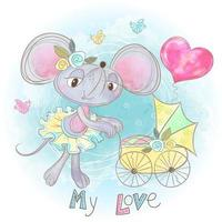 Mom mouse with a baby in a stroller. My child. Baby shower. Watercolor