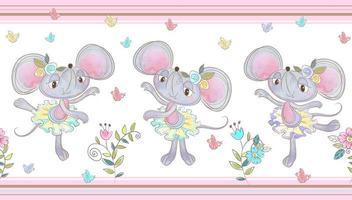 Seamless border. Fun little mice are dancing.