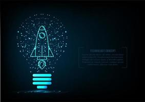 start up concept with rocket in particle light bulb