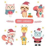 Cute happy pastel animal in Merry Christmas theme collection flat  vector