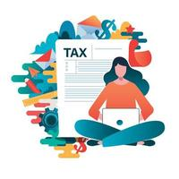 Online tax payment concept