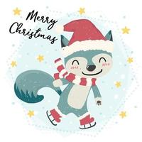 cute happy blue wild animal fox skating in snow, merry Christmas, flat vector