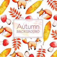 Bella acquerello Autumn Fox e foglie