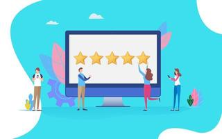 User giving five-star rating