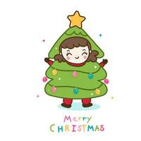 Cute girl Christmas character cartoon merry x mas tree sweet pastel color