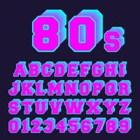 80s alphabet font design. Set of letters and numbers old video game style vector